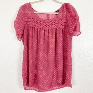 Daniel Rainn Pink Sheer Polka Dot Petal Sleeve Top
